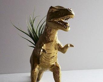 Dinosaur Planter, T-Rex, Air Plant, Gold, T-Rex, Dinosaur Theme, Gold, Rose Gold, Desk Accessory, Valentine's Day, Teacher Gift, Office Desk