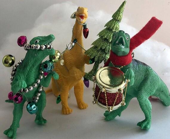image 0 - Dinosaur Christmas Ornaments Set Of 3 Qwazy Dinos Dinosaur Etsy