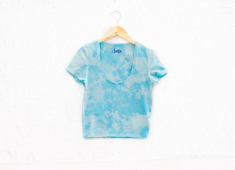 50/% OFF SALE Small Organic Light Blue Tie-Dye Penny Royal Crop Top