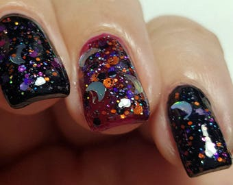 "Halloween Nail Polish ""Witches Brew"" Holo Moons Glitter Bomb 5 FREE"