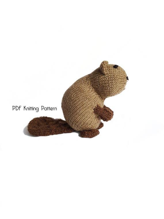 "Knitting Pattern For  Toy Animal Beaver  14/"" In Length"