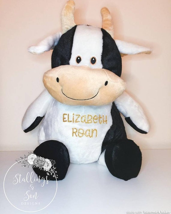 Large Personalized Plush Cow Personalized Stuffed Animal Plush Cow Farm Animal Plush Cow Stuffed Animal Black And White Cow Plush