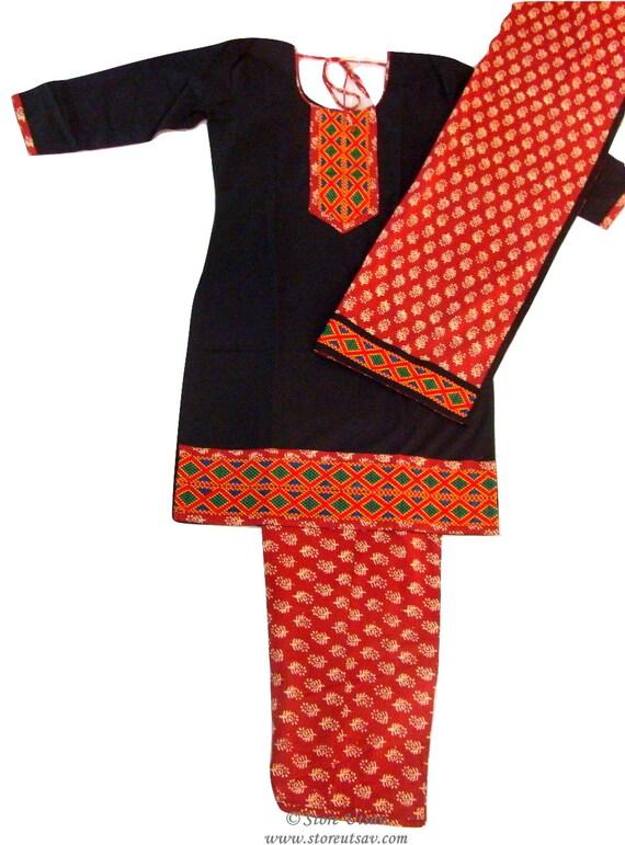 Salwar Kameez mit Dupatta schwarz und rotbraun Bio Baumwolle | Etsy