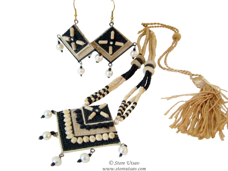 d77f641c2e5 Necklace Set Jute Natural Handmade necklace With