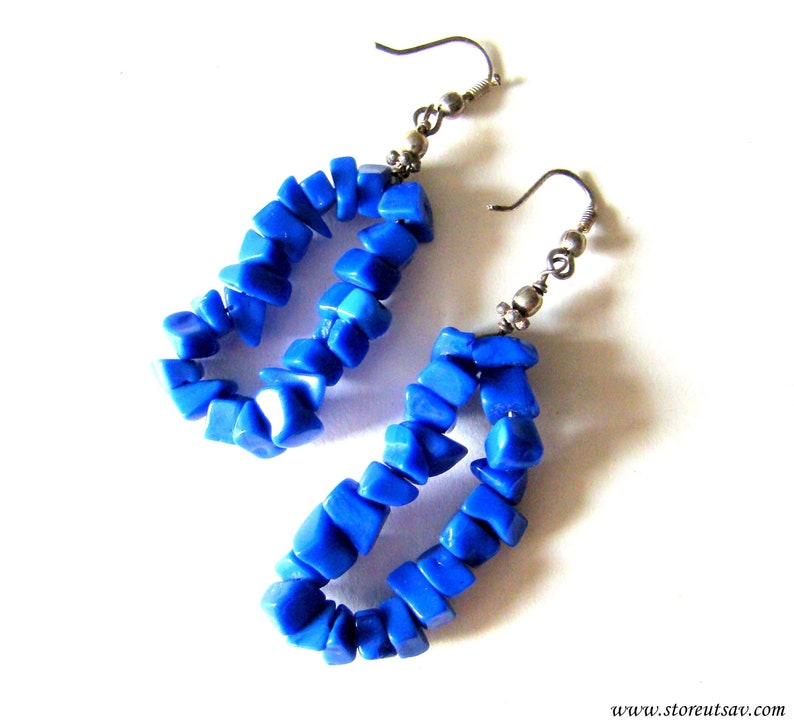 Earring Blue Handmade High Quality Stone Chips Single Strand from India Fashion Necklace Set Jewelry Set Women Jewelry Tribal Earring
