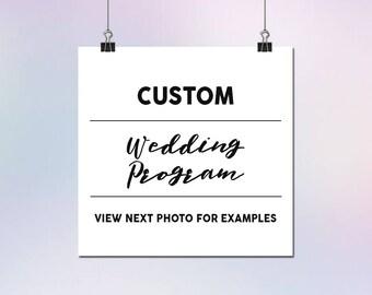 Custom Wedding Program Design Etsy