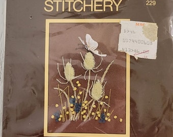 Sunset Stitchery Kit- Butterfly and Thistles. New
