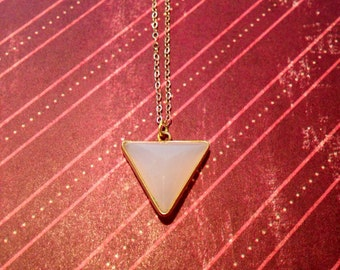 Rose Triangle Edged in Gold Vermeil and hung on a 18inch, 14k gold filled chain