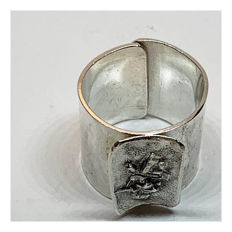 Open Back Adjustable Ring Unique Statement Ring With Silver Reticulation Artisan Handmade
