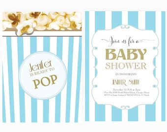 Ready to pop invite etsy word template baby shower invitation editable word template instant download blue gold she is ready to pop filmwisefo
