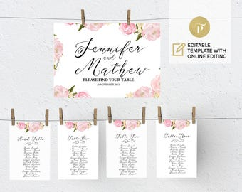wedding seating chart poster template wedding table plan etsy