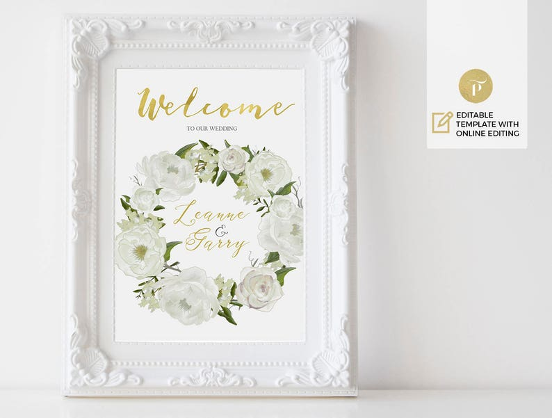 Instant Download White Peony Editable online DIY You print Printable Thank you card Template