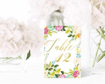 Wedding table numbers Printable | 4 x 6