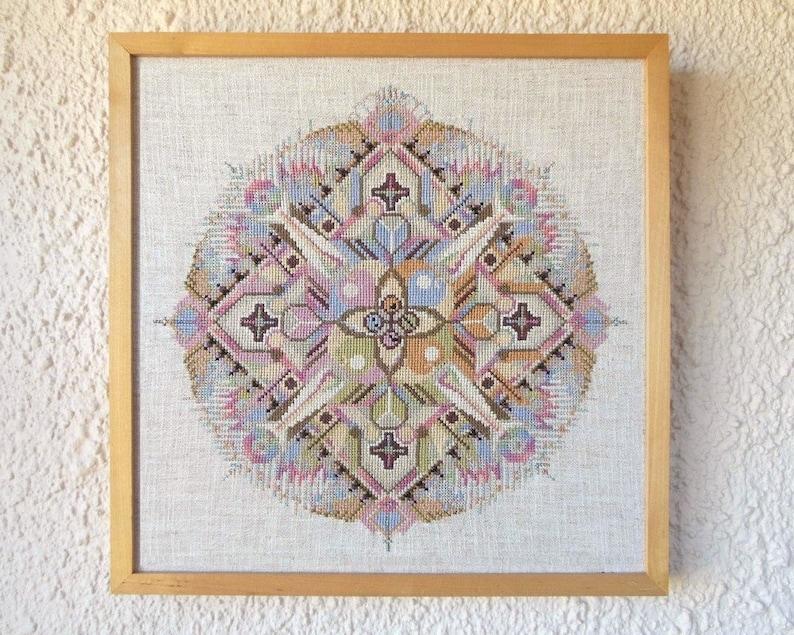Cross-Stitch Mandala Pattern \u201cMusical Spring\u201d; for DMC floss; Instant Download; 13.75 diameter
