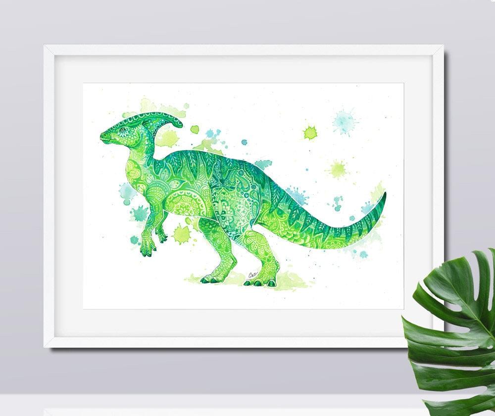 Green Dinosaur Wall Art Kids Dinosaur Art Baby Boy Nursery ...