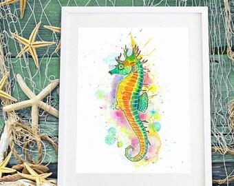 Seahorse Watercolour Wall Art Print - Ocean Nursery Interior Decor Bathroom Sea Horse Wildlife Underwater Nautical Prints