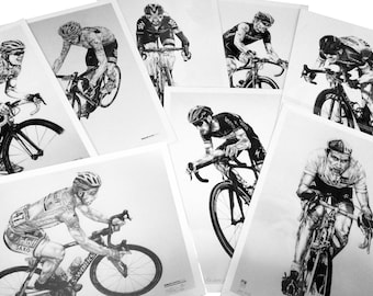 Cycling A2 limited edition prints gift set. Boonen, Cancellara, Sagan, Merckx, Froome, Gilbert, Cavendish, Wiggins