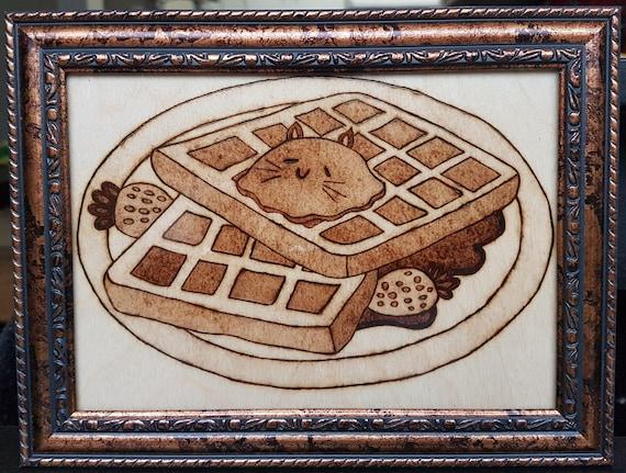 Waffle Cats Woodburning Free Shipping CA and US | Etsy
