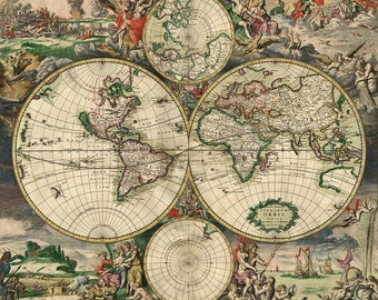 Old World Map 18th Century Download Scan Of An Old Original Etsy
