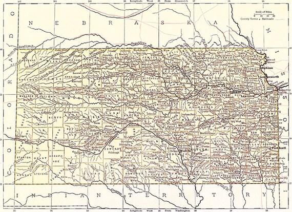 Old Kansas Map.Kansas Map 1881 Scanned Version Of An Old Original Map Of Etsy