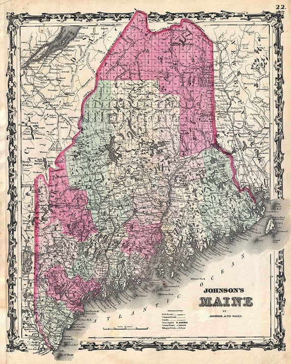 Old Maine Map.Maine Map 1862 Scanned Version Of An Old Original Map Of Etsy