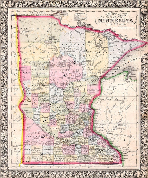 Minnesota map (1864), scanned version of an old original map of the  Minnesota state, vintage download in high resolution-item no 149