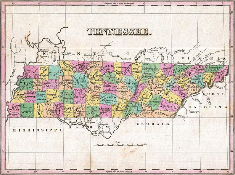 Tennessee map (1827), scanned version of old original map of the Tennessee  state, vintage download in high resolution - item no 166