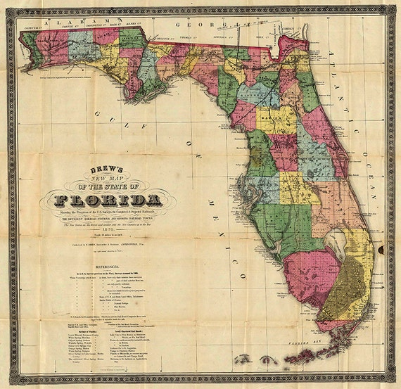 Old Florida Maps.Florida Map 1870 Scanned Version Of An Old Original Map Of Etsy