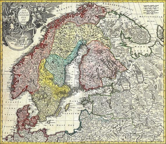 Skandinavien Karte Zum Ausdrucken.Digitale Karte Skandinavien Norwegen Schweden Danemark Finnland Und Den Baltischen Staaten Hochauflosende Instant Download Element Keine 179