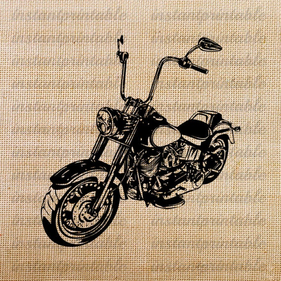 Old motorcycle download, motorcycle clipart, clip art, fabric, iron on  transfer, printable, decal, vintage -- item no 109