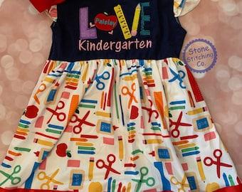 Kindergarten outfit, kindergarten dress, first day of kindergarten, personalized kindergarten dress, cute kindergarten dress