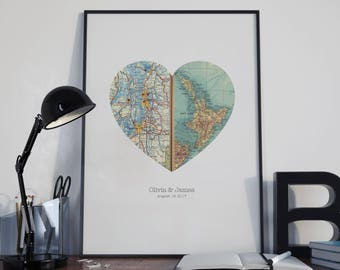 Heart Map Art, Map Heart, Heart Map Print, New Home, Personalised Map Gift, First Anniversary, Bookfold Design,Two Locations, A4, 8.5x11ins