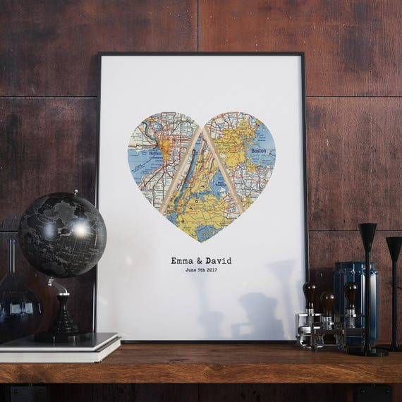 Triple Map Heart Art Unique Wedding Gift For Couple Heart Etsy