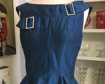 1950s 50s Vintage Royal Blue Silk Party Dress
