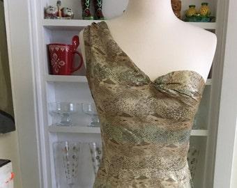 Vintage 1950s 50s  Asian print one shoulder bombshell wiggle dress