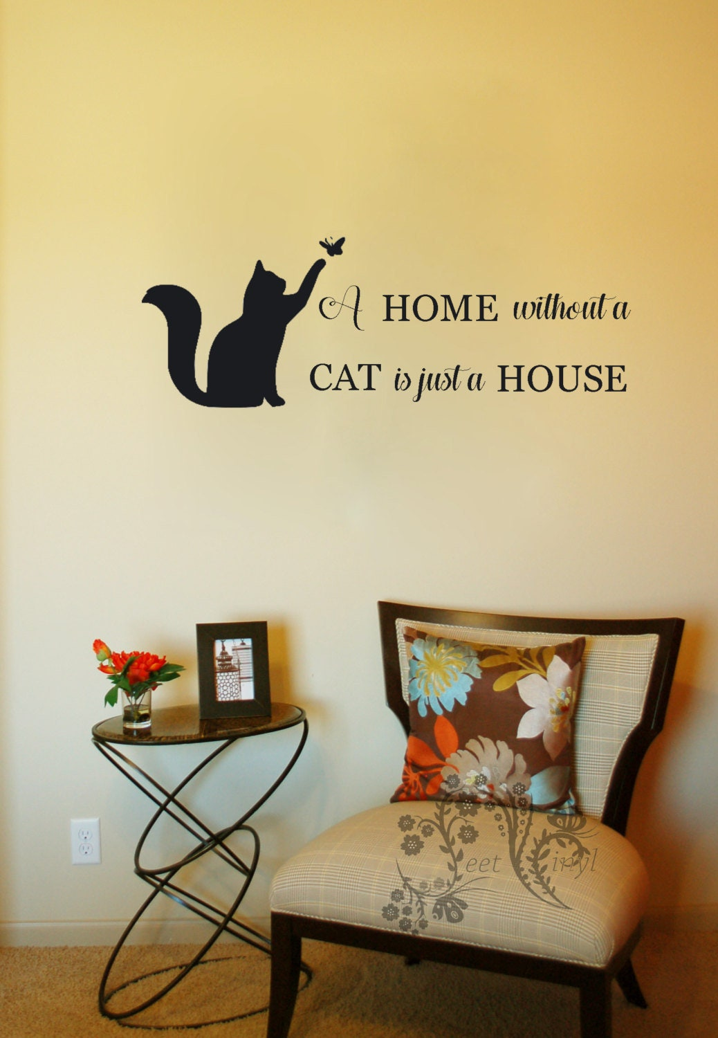 A home without a cat is just a house Family wall Decals | Etsy