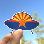 Sticker. Abduct Arizona flag vinyl sticker, ufo decal, bumper sticker.