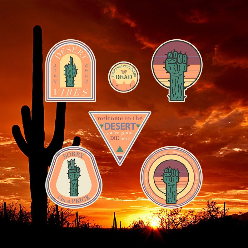 Cactus Sticker pack Desert Vibes Stickers 6 piece sticker image 0