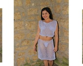 Crochet Two Piece Mesh Beach Cover Up Top Skirt Patterns 1348