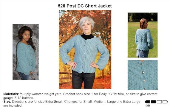 Crocheted Post Dc Short Cardigan Pattern 528
