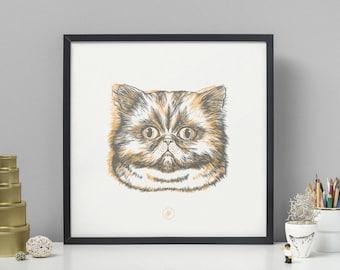 CAT   Yellow & Grey Screen Print