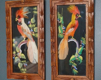 Feathered Bird Pictures, Vintage Botanical Art, Mid Century Hand Made Art, Orange Tropical Birds, Folk Art, Made in Mexico,