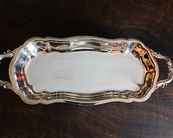 Silver Plated Rectangle Floral print Gallery Tray With Handles New Made In UK