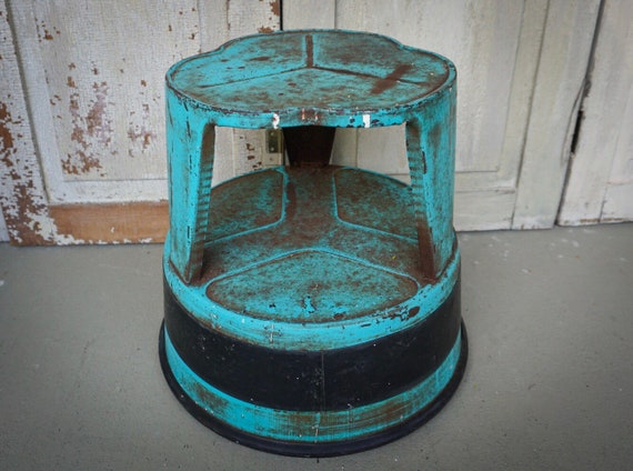 Cool Vintage Rolling Step Stool Aqua Kik Stool Library Ladder Metal Stool On Wheels Industrial Metal Decor Plant Stand Kitschy Decor Gmtry Best Dining Table And Chair Ideas Images Gmtryco