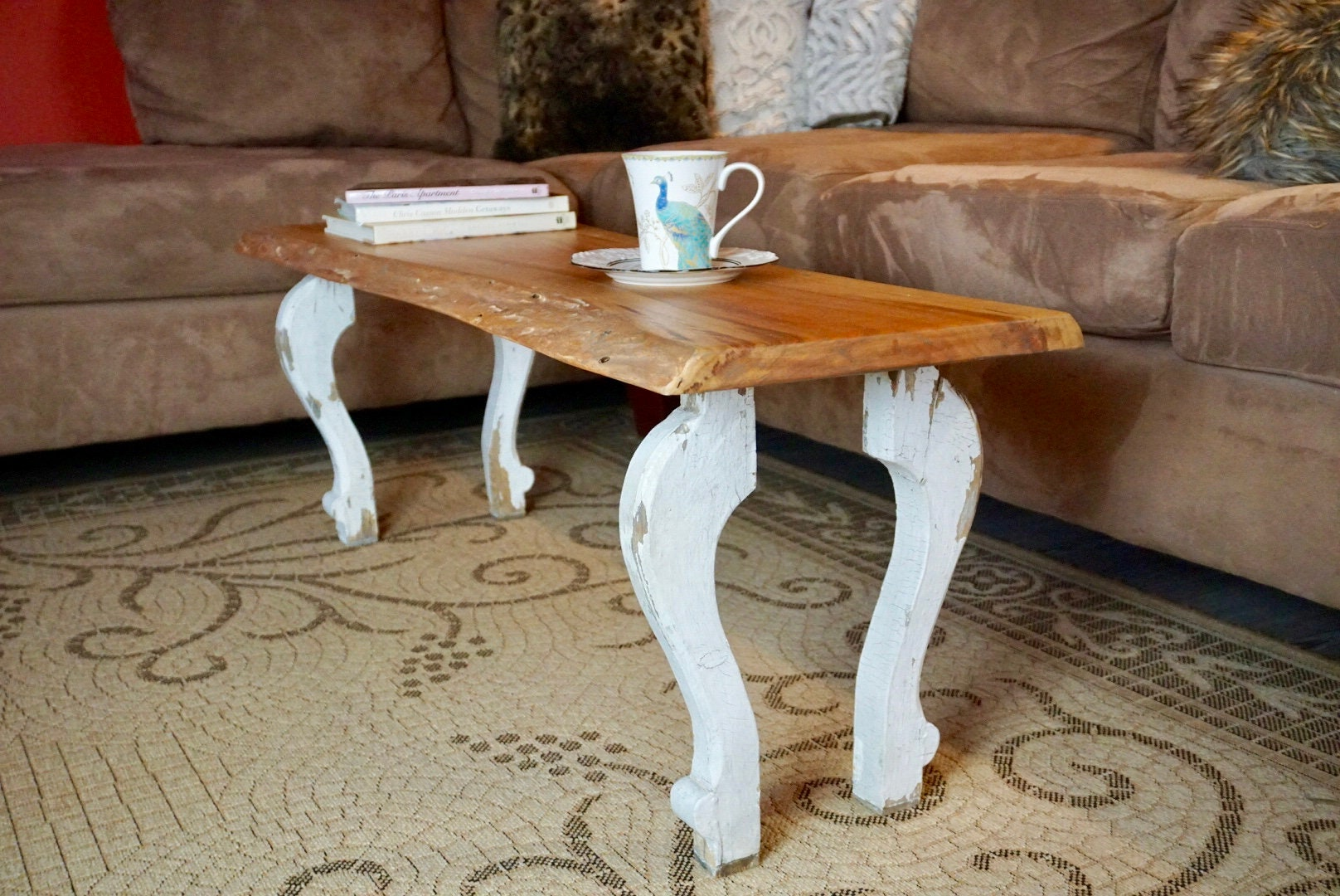 Live Edge Cherry Coffee Table With Salvaged Curvy Legs Chippy Etsy