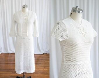 0bd825eaf0 Panacea dress   vintage 30s crochet dress   1930s cream cotton knit dress    30s crocheted cotton dress & jacket   vintage 30s hand crocheted