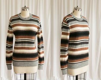 Thane sweater | vintage 60s sweater | 1960s striped sweater | 1960s rust / grey acrylic pullover sweater | striped sweater