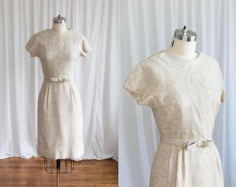 Golden Promise dress | vintage 50s dress | 1960s fitted wiggle dress | cream / tan / gold 50s sheath dress | bow belt | Rona Joan Doris