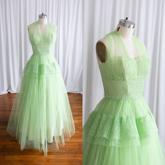 Tiana dress | vintage 50s prom dress | 1950s green