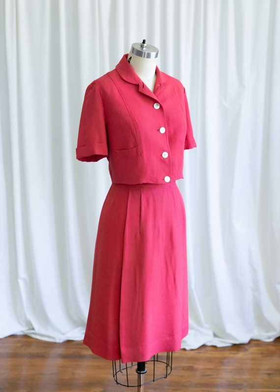 Epcot skirt suit | vintage 40s suit | 1940s red r… - image 5